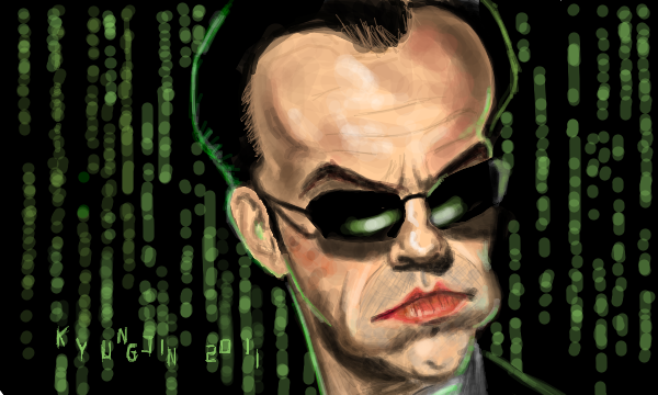 Hugo Weaving Agent Smith caricature