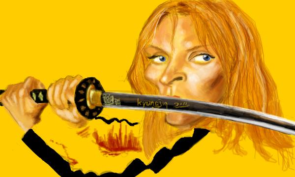 Uma Thurman caricature - Kill Bill