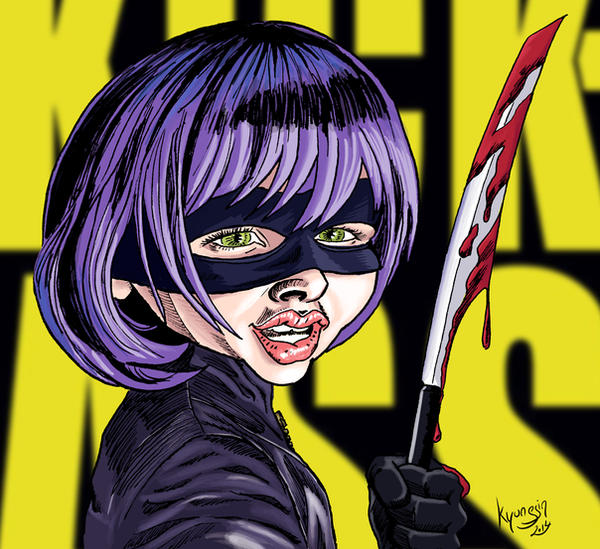 Chloe Moretz caricature en Hit Girl