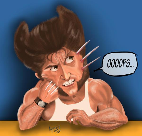 Hugh Jackman Wolverine caricature