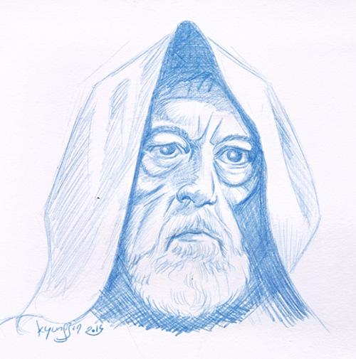 Obi-Wan Kenobi Alec Guinness caricature