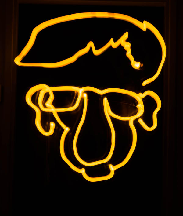 Woody Allen caricature lightpainting