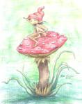 Sitting on a mushroom