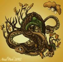November Dragon: Oak Tree by jeweledphoenix