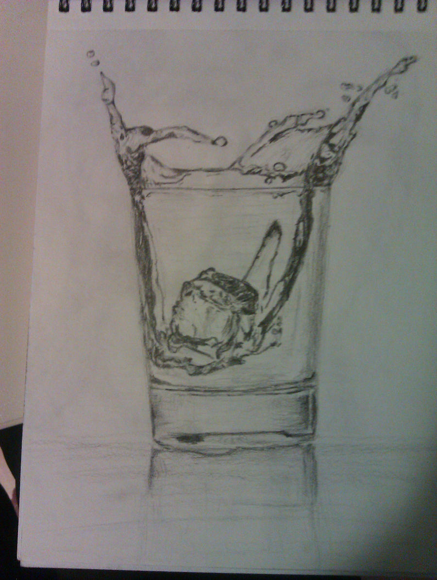 Glass of water with ice cube by Luciiya