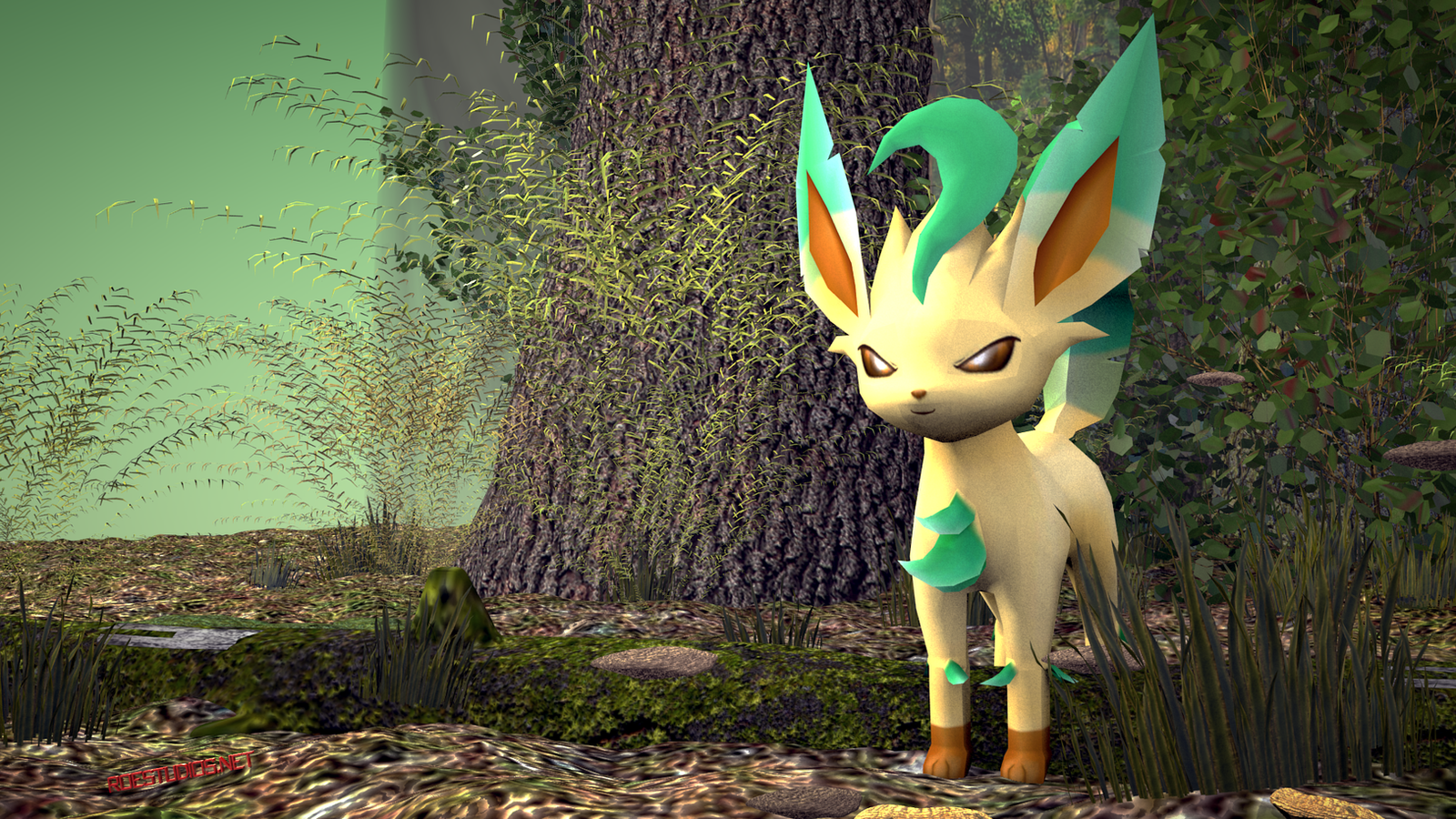 Leafeon in the forest 3d model by themoderator on deviantart for Deviantart 3d models