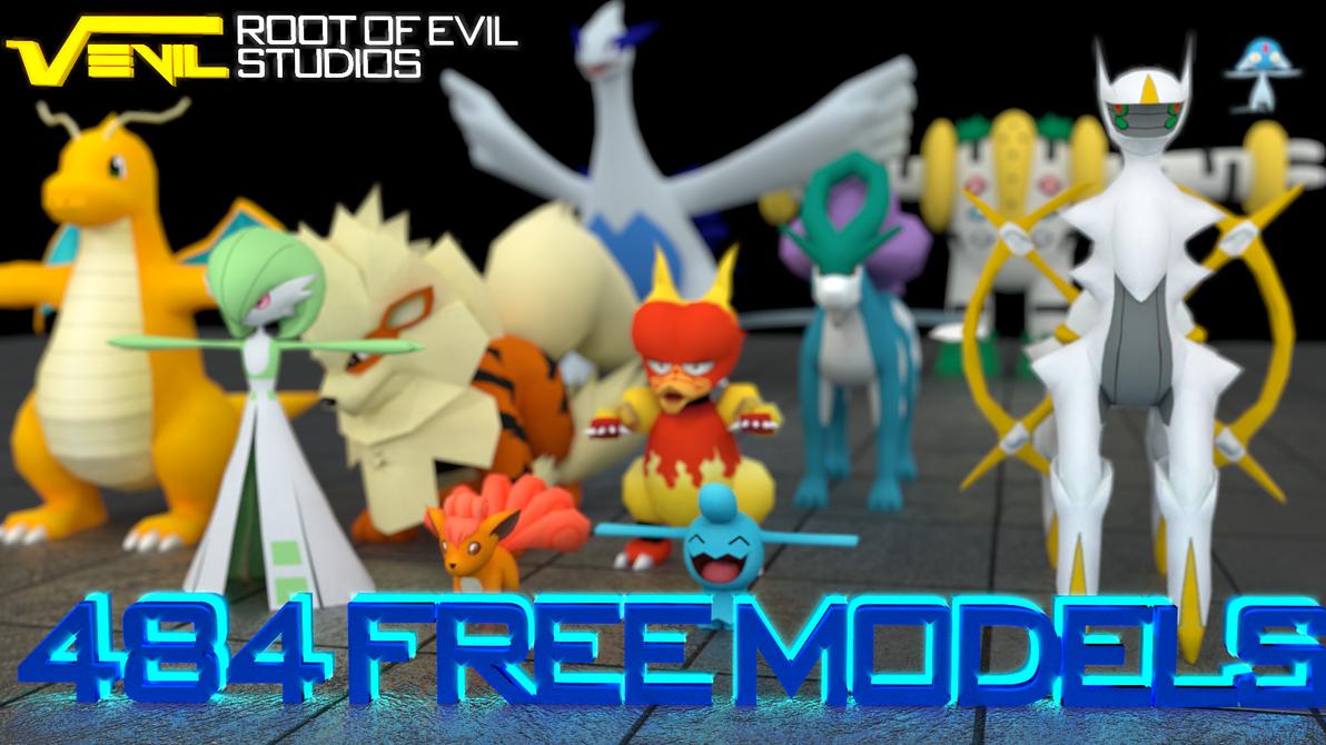 484 Free Pokemon 3D Models (+ Shinys!) [DOWNLOAD] by