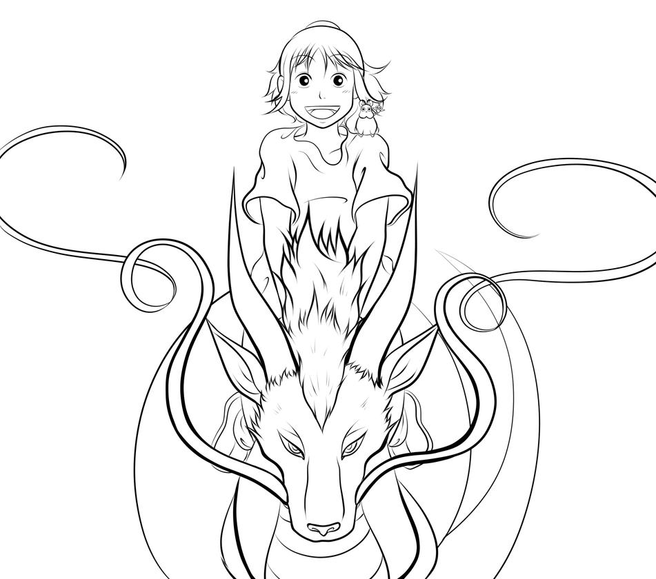 spirited away coloring pages - spirited away wip chihiro and haku by smudgeandfrank on