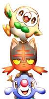 Pokemon Starters: Rowlet, Litten, and Popplio by Smudgeandfrank
