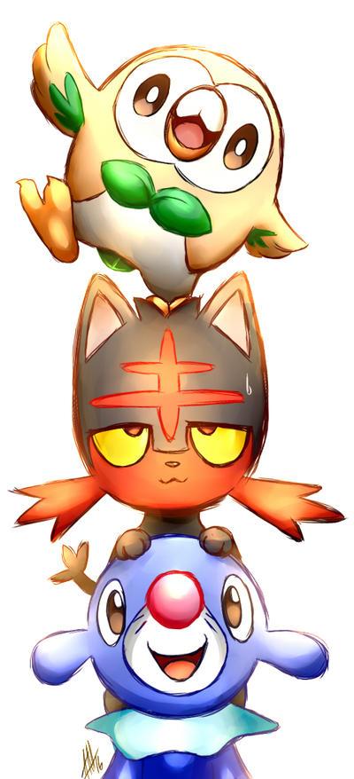 pokemon_starters__rowlet__litten__and_popplio_by_smudgeandfrank da2lk2e pokemon starters rowlet, litten, and popplio by smudgeandfrank on