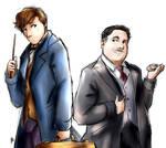 Newt Scamander and Jacob Kowalski