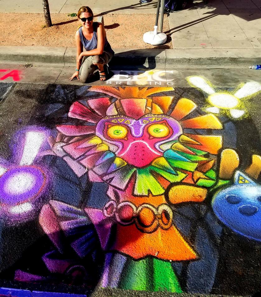 Denver Chalk Festival 2016: Skull Kid by Smudgeandfrank