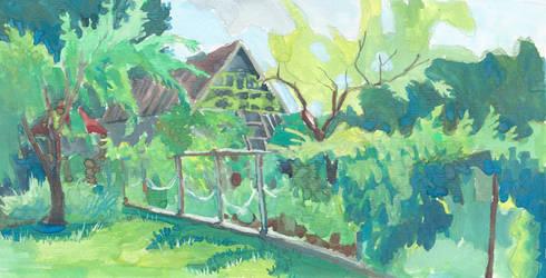 Neighbour's greenery on sunny morning