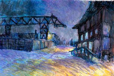 Winter night in industrial neighbourhood