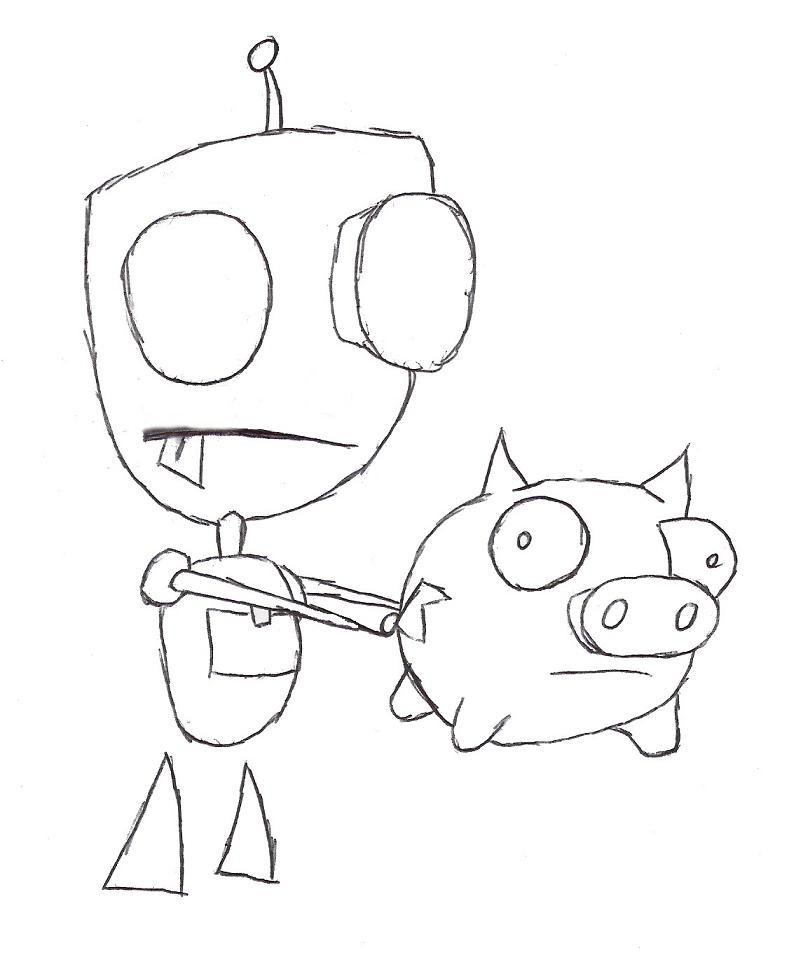 gir and piggy coloring pages - photo#29