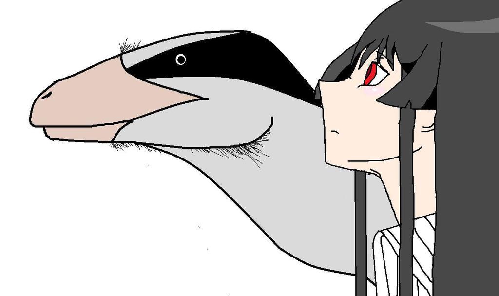 Akame and non-descript Dromaeosaur. by OtakuSauridae