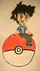 Chibi Ash sitting on a Pokeball by ChibiAsh07