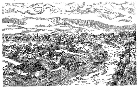 Mountain village. Aul Khabez. Book illustration