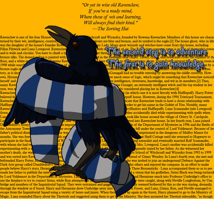 Ravenclaw: Mascot and Scarf by kitsunesakurano on DeviantArt