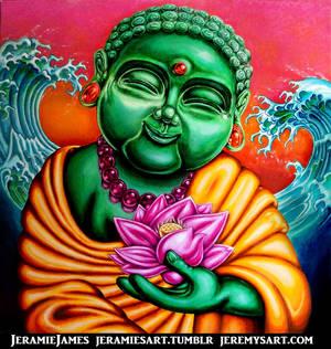 Happy Green Buddha