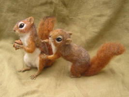 Needle felted Red Squirrels fighting over an acorn