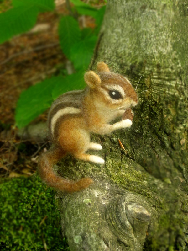 Needle Felted Chipmunk by HStiLeS