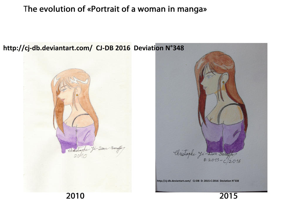 The evolution of Portrait of woman in manga by CJ-DB