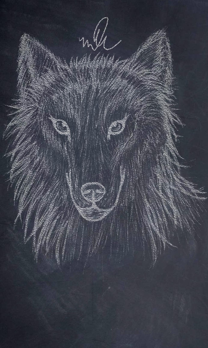 Wolf Head (Fur Practise) Digital Chalk Version by NightPhantomXD