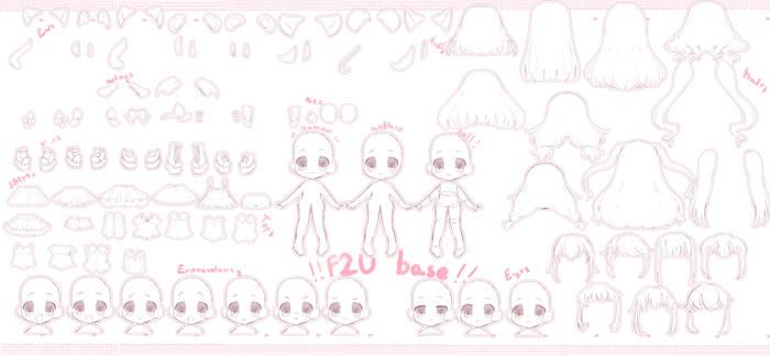 (F2U) Chibi and anthro base big pack #2