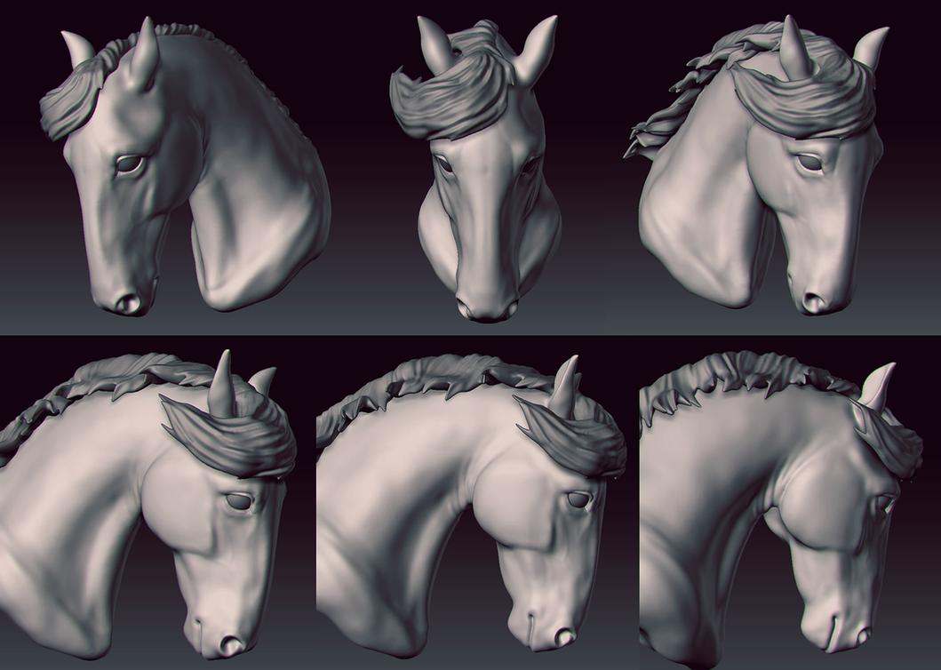 Horse Head Zbrush Sketch by velocitti