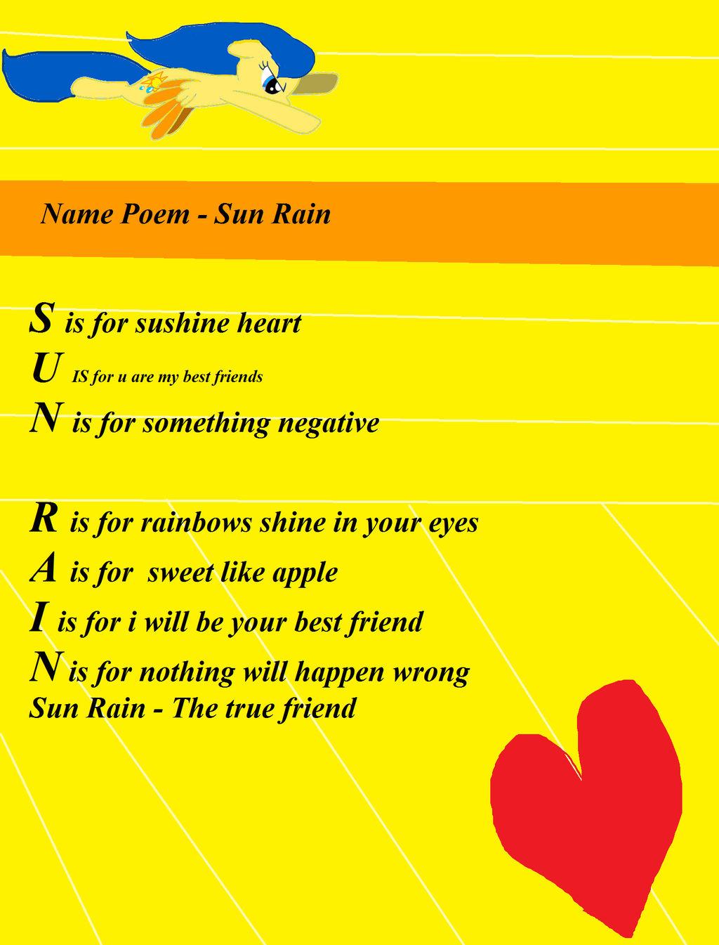 Name Poem - Sun Rain