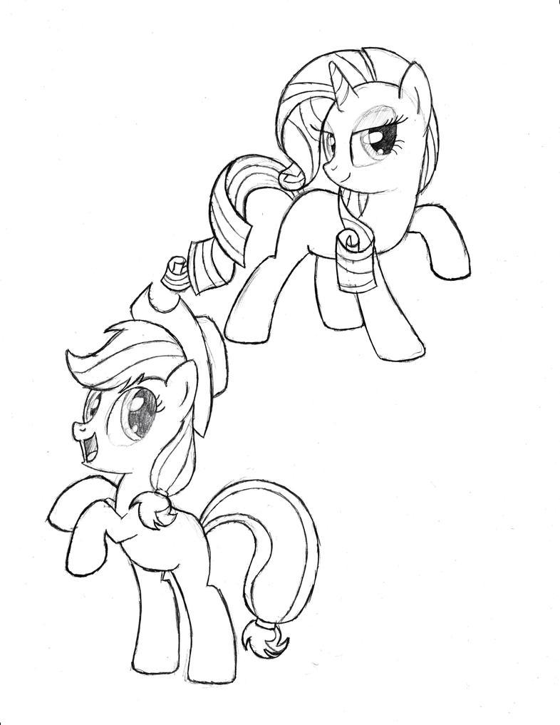 Rarity, Applejack (Sketch) by TheAljavis