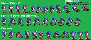 Custom Sonic Sprites Sheet - Sonic 1 Styled by AsuharaMoon