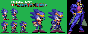 [Sprite] Sonic the Hedgehog as Jotaro Kujo by AsuharaMoon