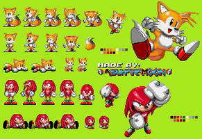 [Custom] Tails and Knuckles - S1 specific sprites by AsuharaMoon