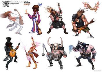 Guitar Hero - Male Characters by cdavisart