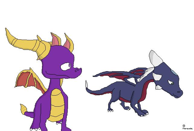 Spyro and Cynder pixel art by floravola on DeviantArt