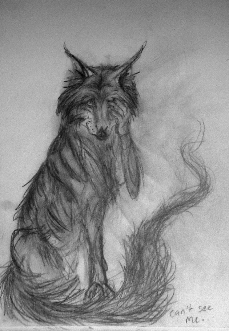 Can't See Me.. Wolf sketch by DreamingofDarkhorses