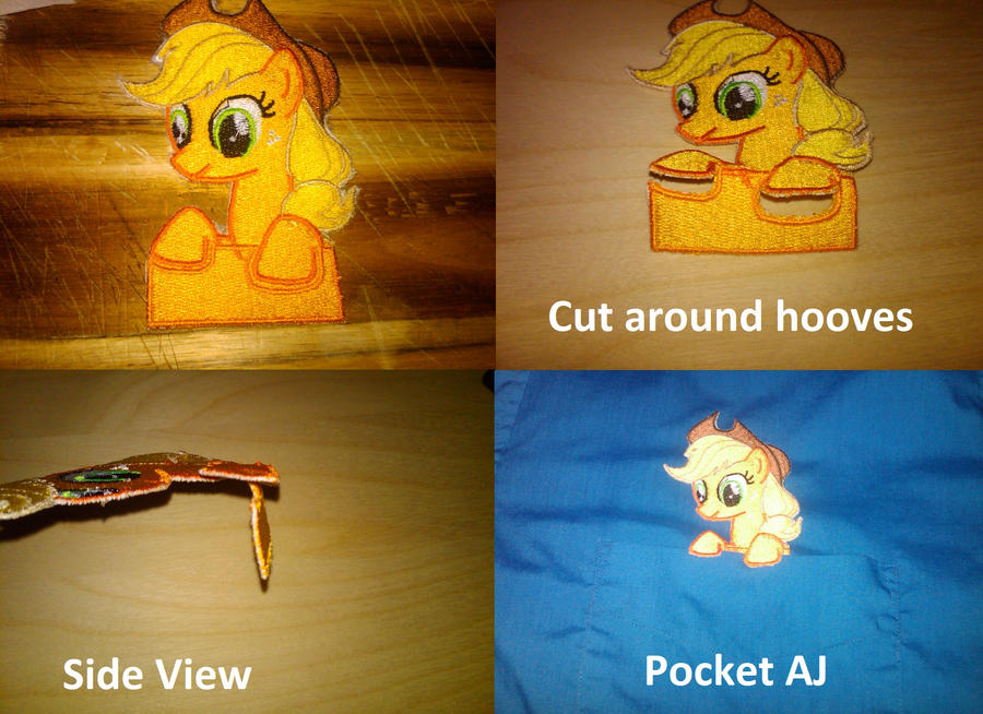 Pocket Applejack Embroidery by EthePony