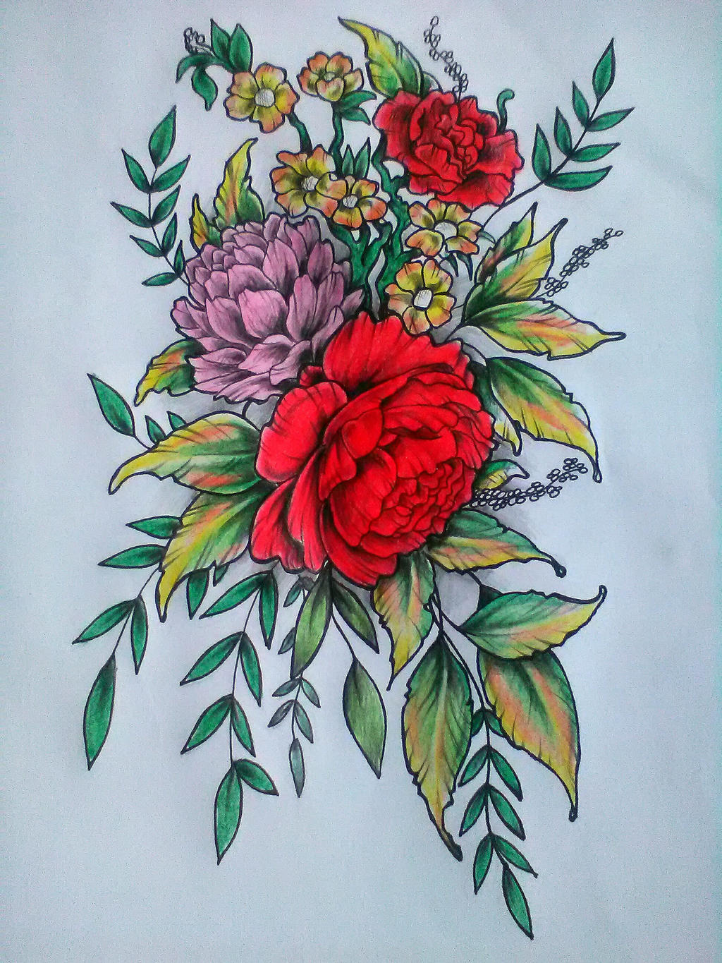 flowers tattoo dwa i hm by wigur