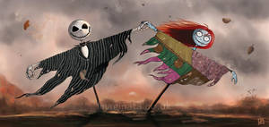 Jack and Sally Scarecrows