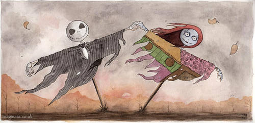 Jack and Sally Scarecrows - Watercolour by Imaginata