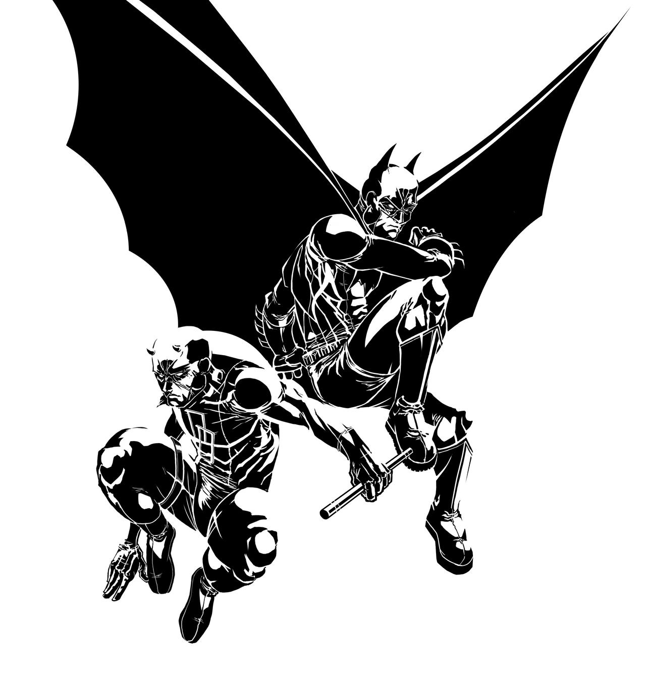 Batman + Daredevil INKS by SLO-MO