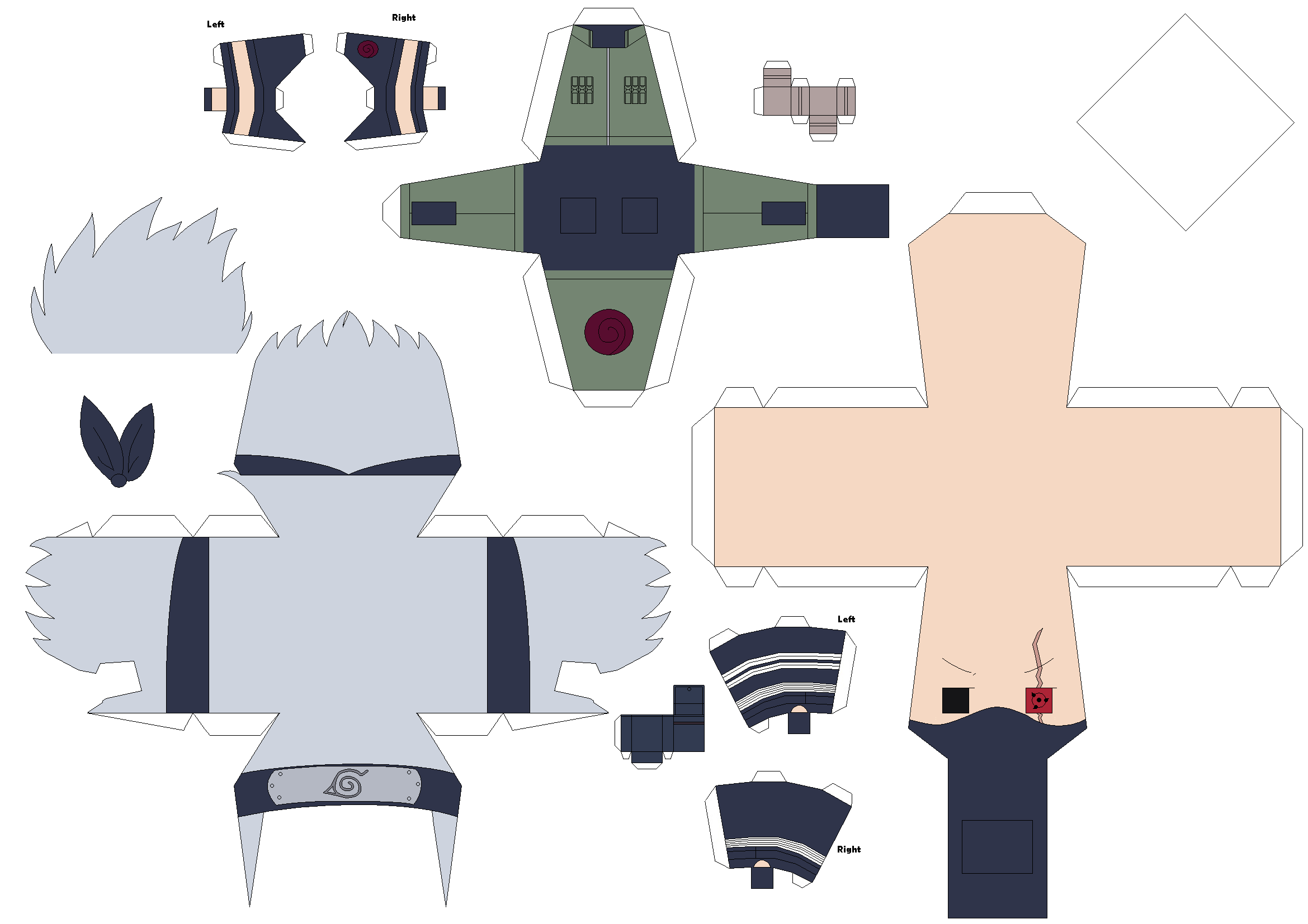 Sharingan Kakashi Papercraft Template - Request by Huski-Fan