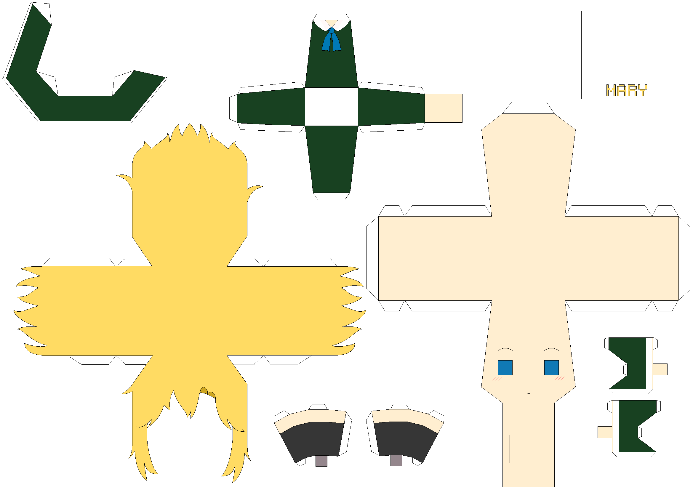 Papercraft Link Template Mary Papercraft Template by