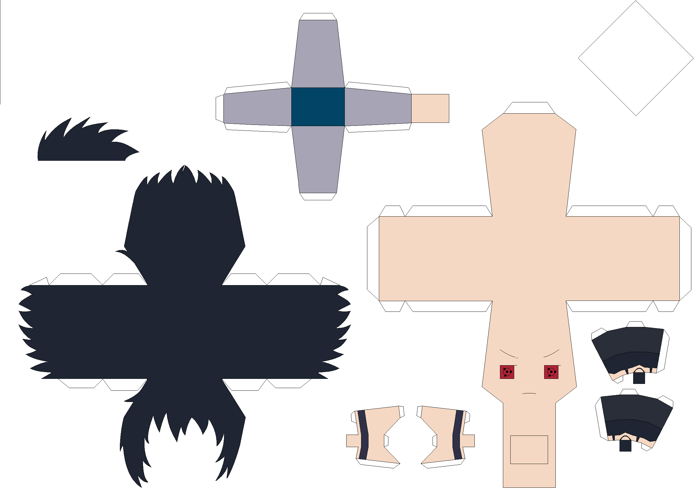 Akatsuki Sasuke Papercraft Template - Request Pt1 by Huski-Fan