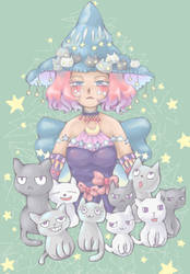 Witch and Cats by Moneyfunny