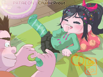 Vanellope gets a massage from Ralph by CharlieProut