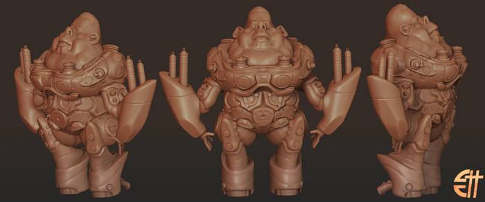 A fat guy in armor.