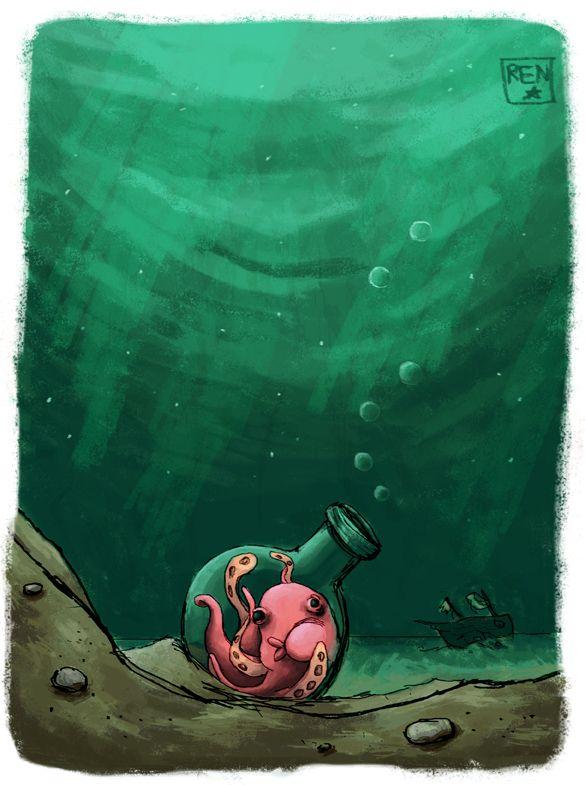 Bottled-Illustration Friday by KittenOnKite